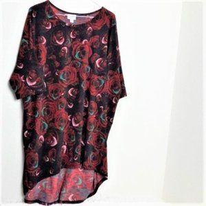 Lularoe Red Roses Irma Shirt Blouse XL Flowers Top